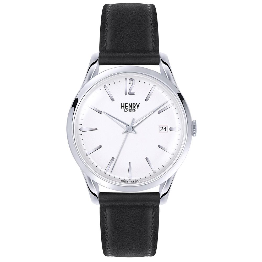 Henry London 英式簡約真皮手錶-銀白X黑/39mm