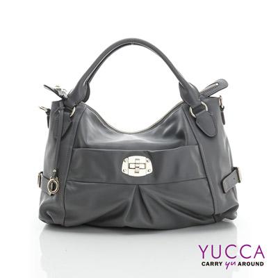 YUCCA - 十字扣牛皮手挽三用包-灰色 D012633