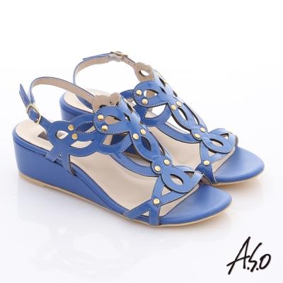 A.S.O 玩美涼夏 鏡面牛皮鏤空花朵鉚釘楔型涼鞋 藍色