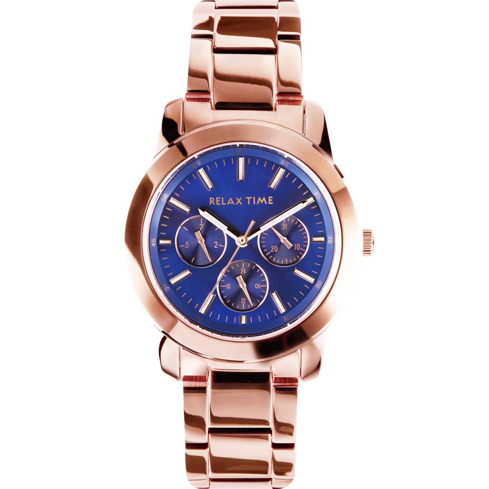 Relax Time 時尚達人日曆顯示腕錶-藍x玫塊金/38mm R0800-16-36