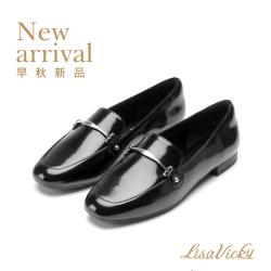 LisaVicky 時尚摩登休閒小方頭金屬釦穆勒平底鞋-黑色