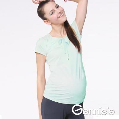 Gennie's奇妮-蝴蝶結綁帶舒爽涼感紗春夏孕婦上衣 (G3704)-綠