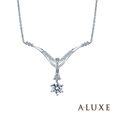 A-LUXE 亞立詩 0.30克拉FVS2 雙色金美鑽項鍊