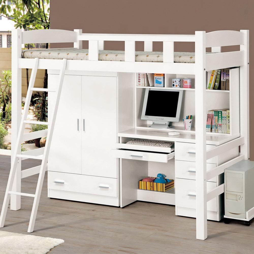 時尚屋貝莎3.8尺白色挑高組合床組不含床墊-含主機架-書桌-衣櫥-床架