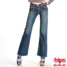 BOBSON 女款紅色繡線寬管喇叭褲(深藍53)