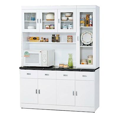 品家居 瑪麗5.3尺八門四抽石面餐櫃組合-160x42.7x202cm免組