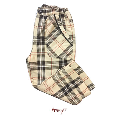 Annys英倫時尚格紋鬆緊舒適口袋長褲*1492卡其