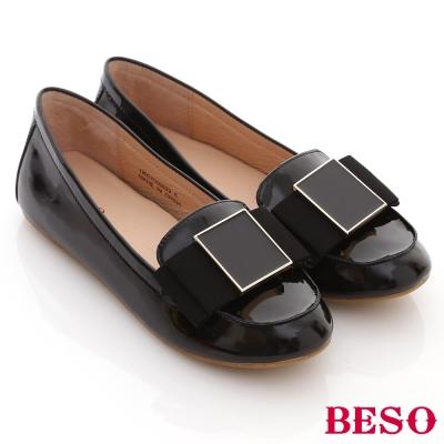 BESO氣質風尚-真皮質感素面拼接方摺舒適平底鞋-黑