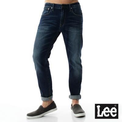 Lee 牛仔褲 709低腰合身貓須刷白小直筒牛仔褲/RG- 男款-藍