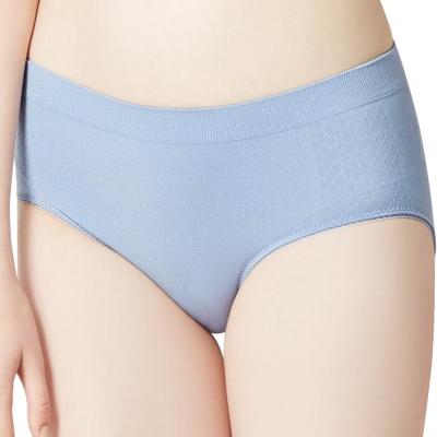 思薇爾 I LOVE U系列M-XXL素面中腰三角內褲(紫煙藍)