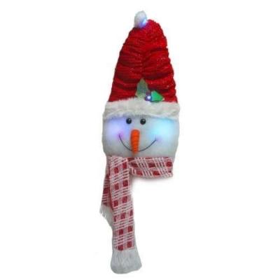 聖誕雪人頭造型壁飾吊飾(內含LED燈電池燈)