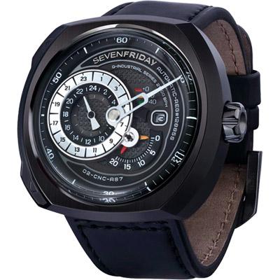 SEVENFRIDAY Q3 日期顯示自動上鍊機械錶-黑/44*50mm