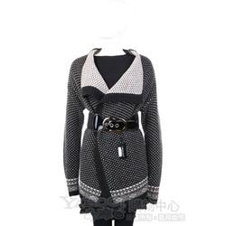 MARELLA 黑/白色點點毛料外套(不含腰帶)