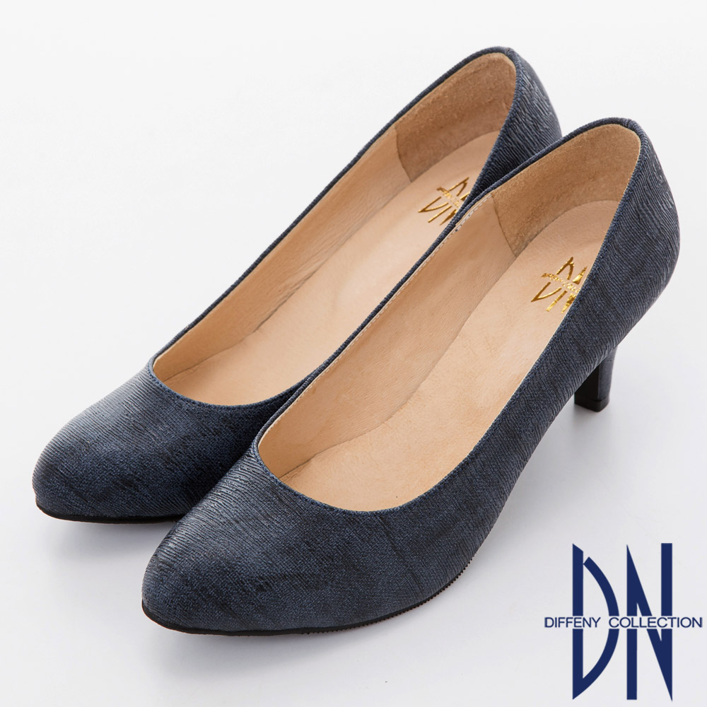 DN 氣質粉領 時尚水波紋尖頭跟鞋-藍
