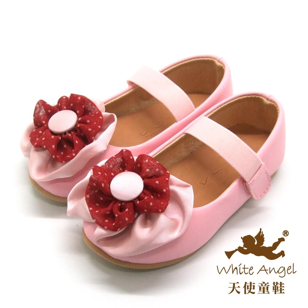天使童鞋-D0390 可愛氣質花朵娃娃鞋(中童)-甜心粉