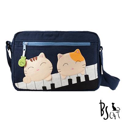 ABS貝斯貓 可愛貓咪拼布 側背包 肩背包 (藍) 88-201