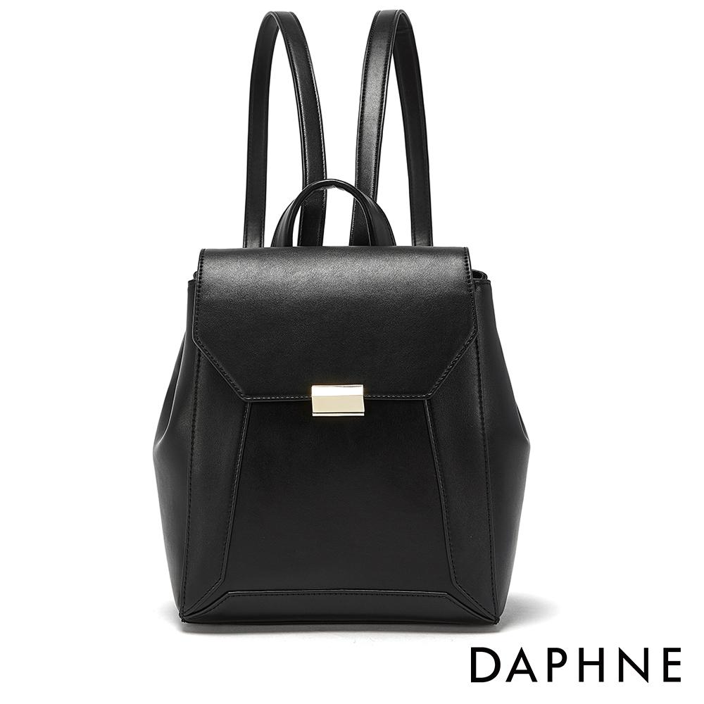 達芙妮DAPHNE-幾何拼接掀蓋式後背包-黑