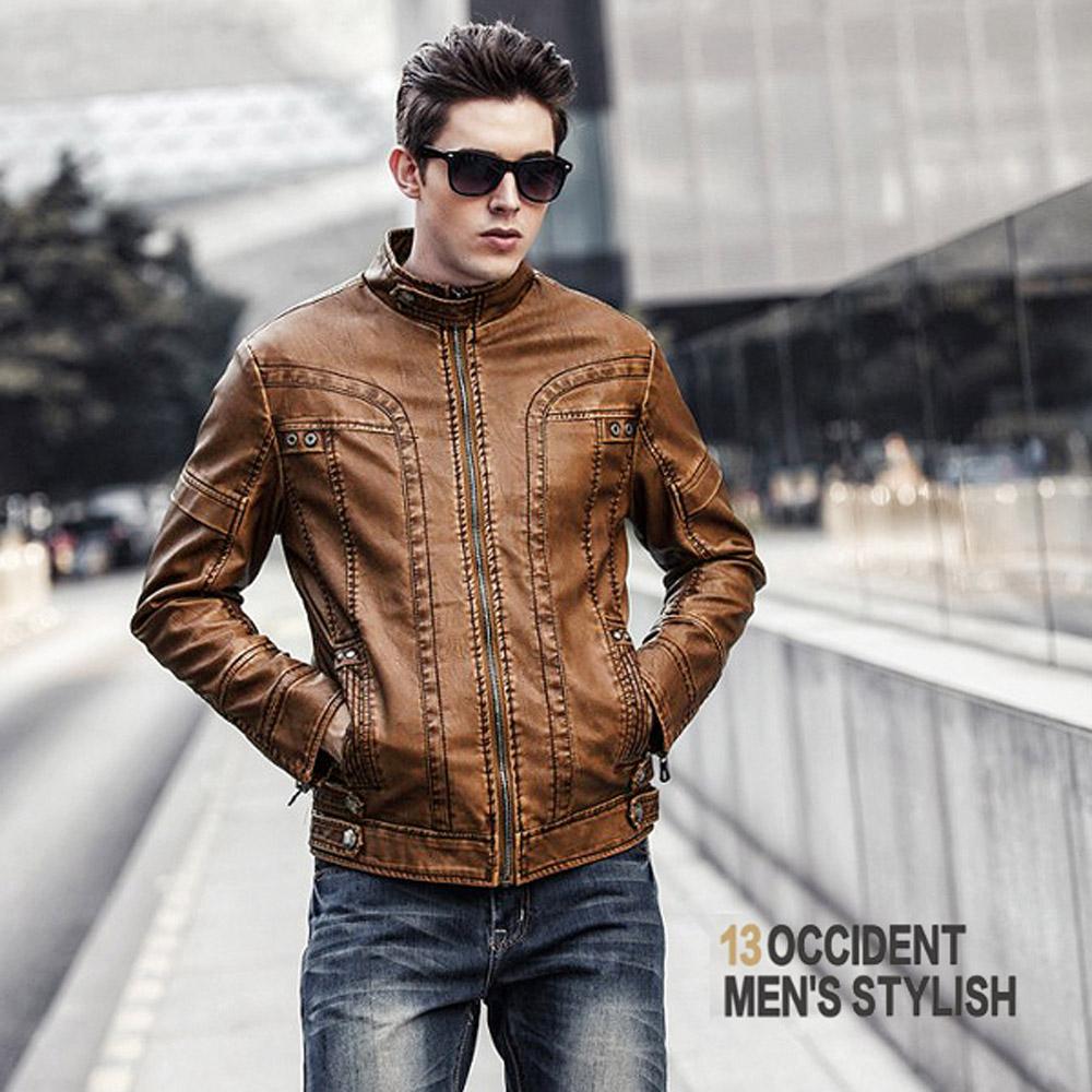 美國熊 騎士風格 內加細絨  顯瘦版型 立領皮衣夾克