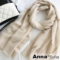 AnnaSofia 立體金羽線繡 柔軟棉麻披肩圍巾(杏系)
