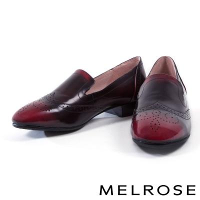 跟鞋 MELROSE 英式復古全真皮打洞設計樂福鞋-紅