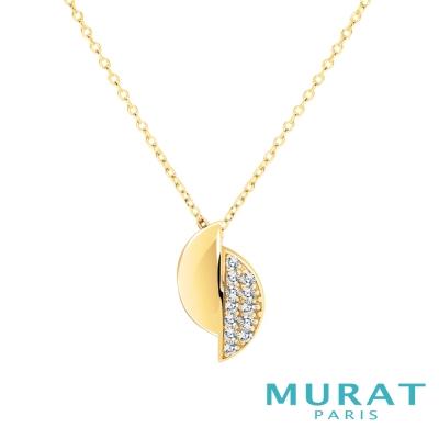 MURAT Paris米哈巴黎 質感交錯半月型項鍊(金色款)