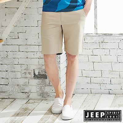 JEEP 反摺造型素面休閒短褲-卡其