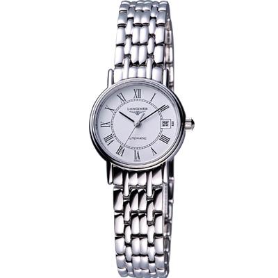 LONGINES Presence 經典羅馬鋼帶機械腕錶-銀/25.5mm L43214116