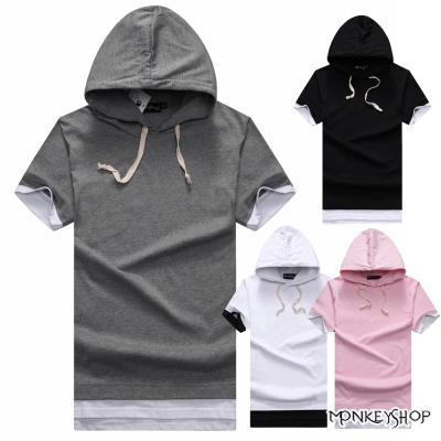 Monkey Shop MIT台灣製簡約開衩假兩件連帽短袖T恤-4色