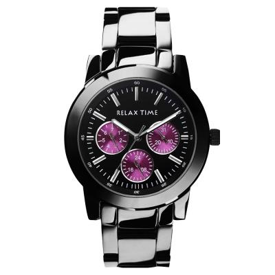 Relax Time 炫彩中性日曆手錶-紫x黑/42.5mm