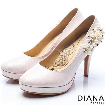 DIANA-漫步雲端LADY款-夢幻逸品水鑽新娘跟鞋-粉