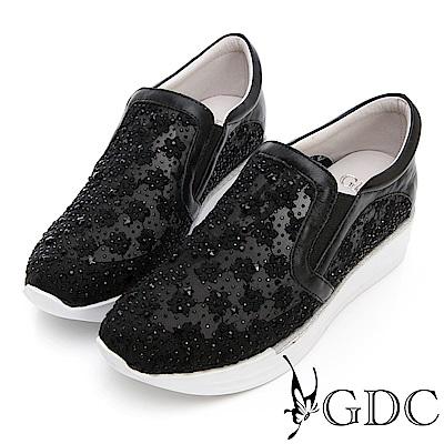 GDC-熱銷NO.1真皮花朵簍空厚底休閒鞋-黑色