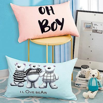 La Lune 文創風100%純棉雙面AB版印花舒適枕 熊寶貝