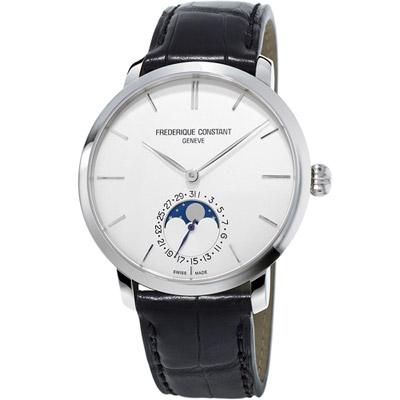 康斯登 CONSTANT 自製機芯超薄月相腕錶 -白色/42mm