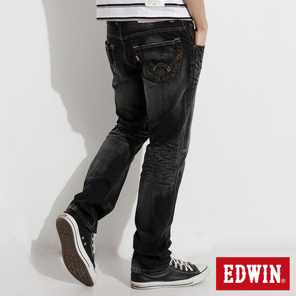 【EDWIN】大尺碼NEW503重水洗五袋中直筒牛仔褲-男款(灰色)