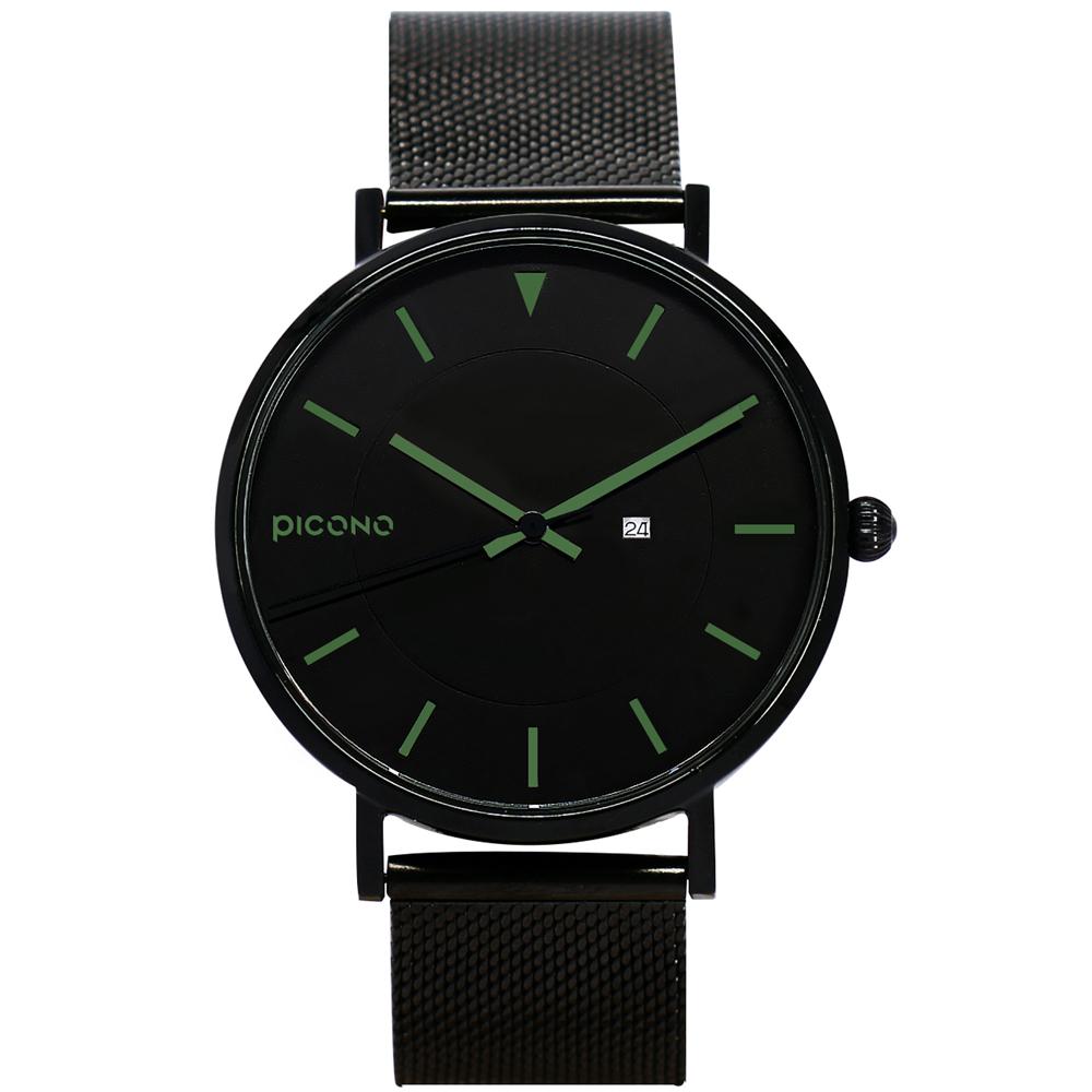【PICONO】RGB 系列 輕薄黑色快拆式不鏽鋼網帶手錶 / RGB-6402 綠色