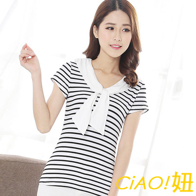 海軍風綁結領條紋T恤 (共二色)-CIAO妞