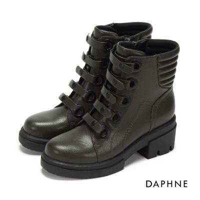 達芙妮DAPHNE 短靴-免綁式釦帶粗跟軍靴-橄欖綠