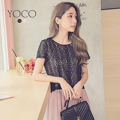 東京著衣-yoco 優雅淑女鏤空花朵蕾絲上衣-XS.S.M(共二色)