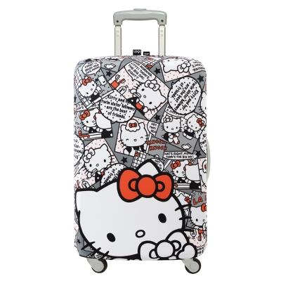 LOQI 行李箱套 - KITTY漫畫灰L號 (適用28吋以上行李箱)