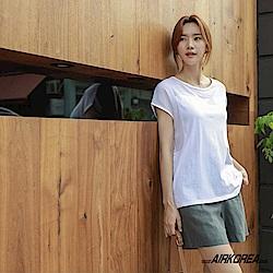 【AIRKOREA正韓空運】正韓棉麻拼接質感上衣