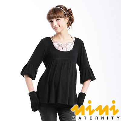 《nini專櫃孕婦裝》公主泡袖繞頸秋冬孕婦上衣-黑(U3W73)