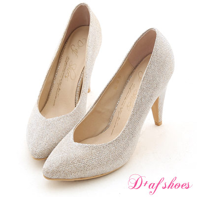 D+AF 星星風潮‧金蔥閃料小V口尖頭高跟鞋*典雅淺金