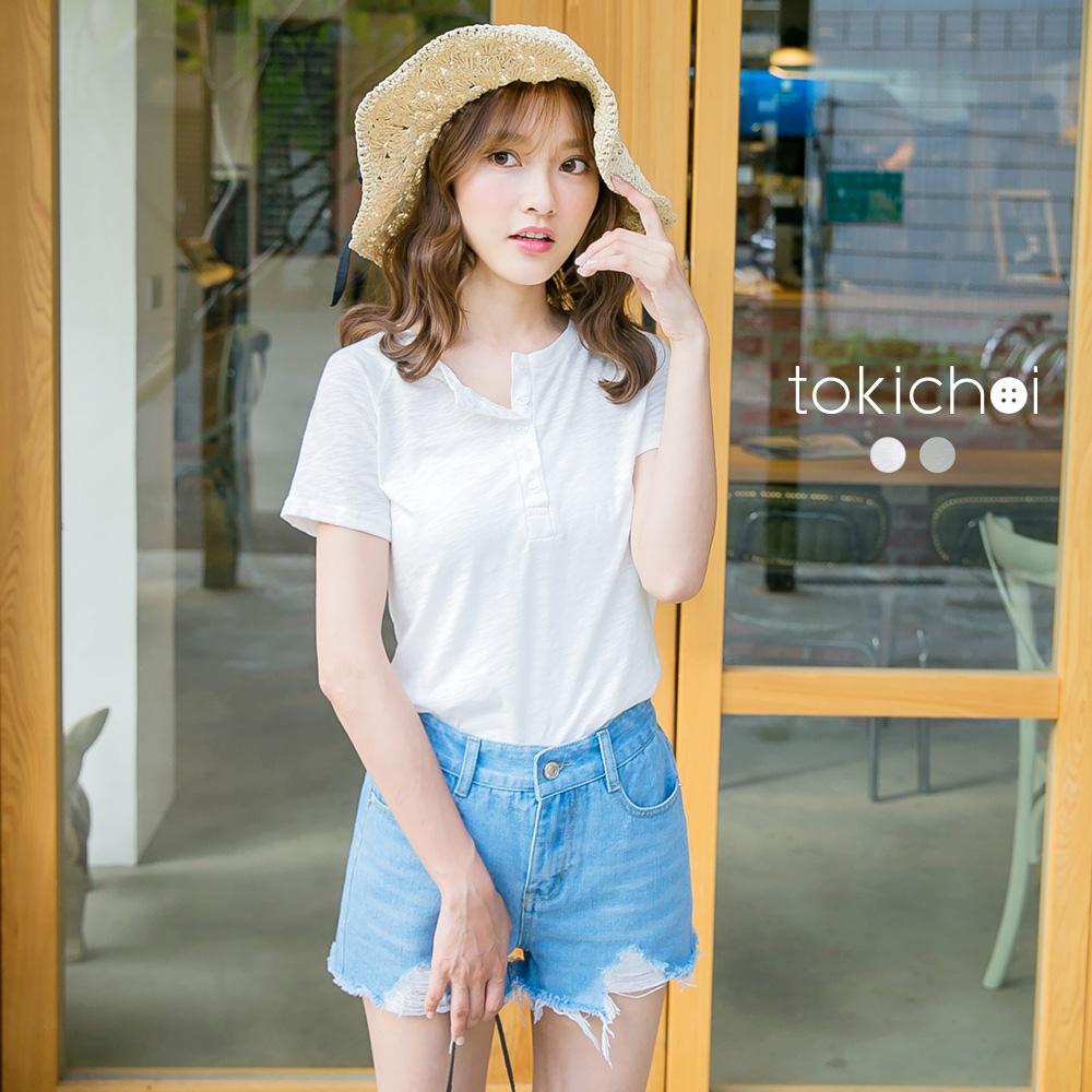 東京著衣 輕透排釦式短袖上衣-S.M(共二色)