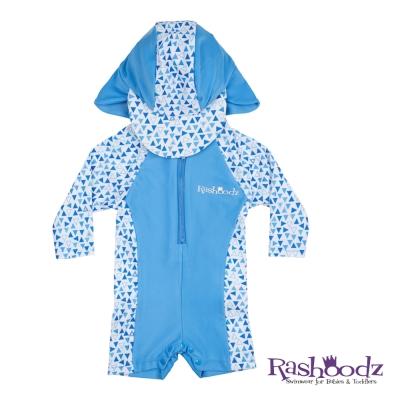澳洲 RASHOODZ 兒童抗UV防曬連身泳衣附遮陽帽 (水藍三角形)