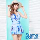 夏之戀SUMMERLOVE 比基尼泳裝 連身裙 粉藍色花朵