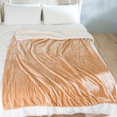 eyah宜雅 北歐時尚雙面加厚法蘭絨羊羔絨毯 2入組(黃棕+咖啡)