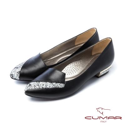 CUMAR法式優雅金蔥拼接鞋樂福寶石鞋跟平底鞋黑