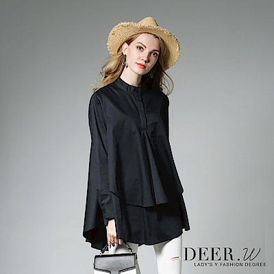 DEER-W-開襟立領雙層傘襬上衣-共兩色