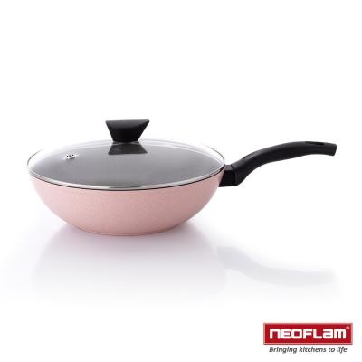 韓國NEOFLAM Reverse 彩色岩礦系列 30cm陶瓷不沾炒鍋+玻璃蓋