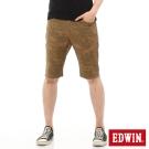 EDWIN 迦績褲 印花短褲-男-褐色